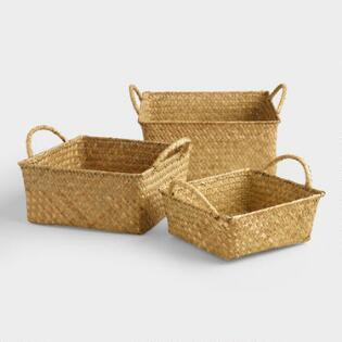 natural square michelle storage baskets - Decorative Storage Bins