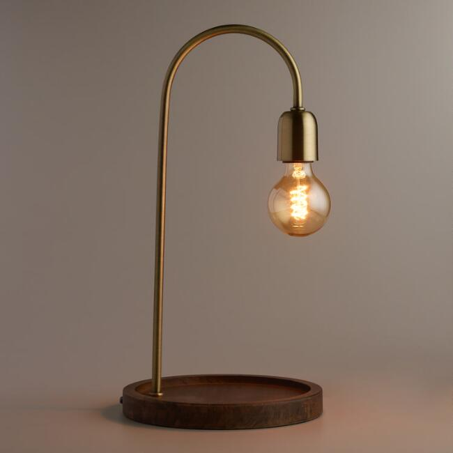 Walnut Wood and Brass Orson Desk Lamp
