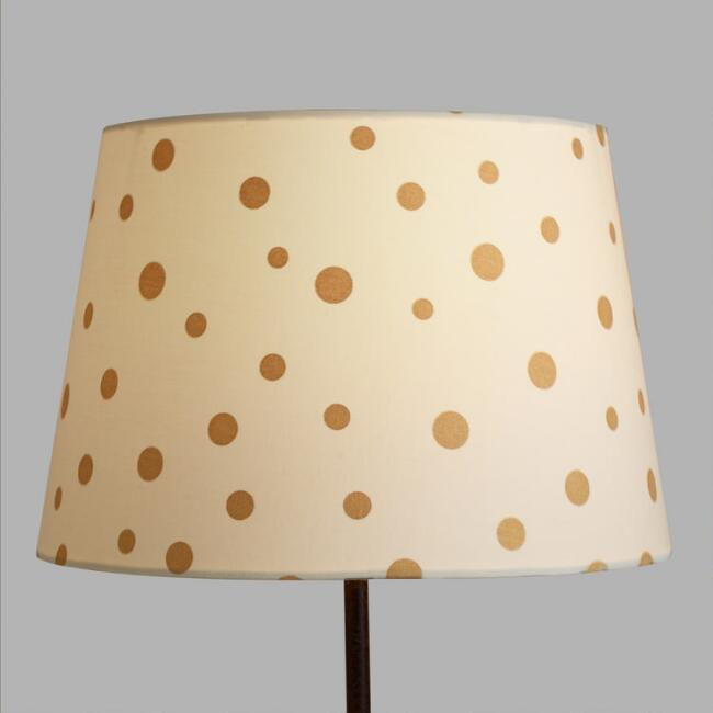 Gold french dots linen accent lamp shade world market aloadofball Choice Image