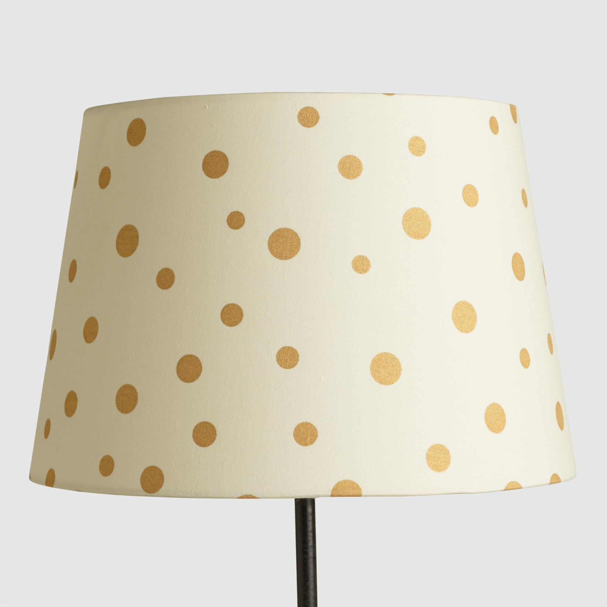 Gold French Dots Linen Accent Lamp Shade | World Market