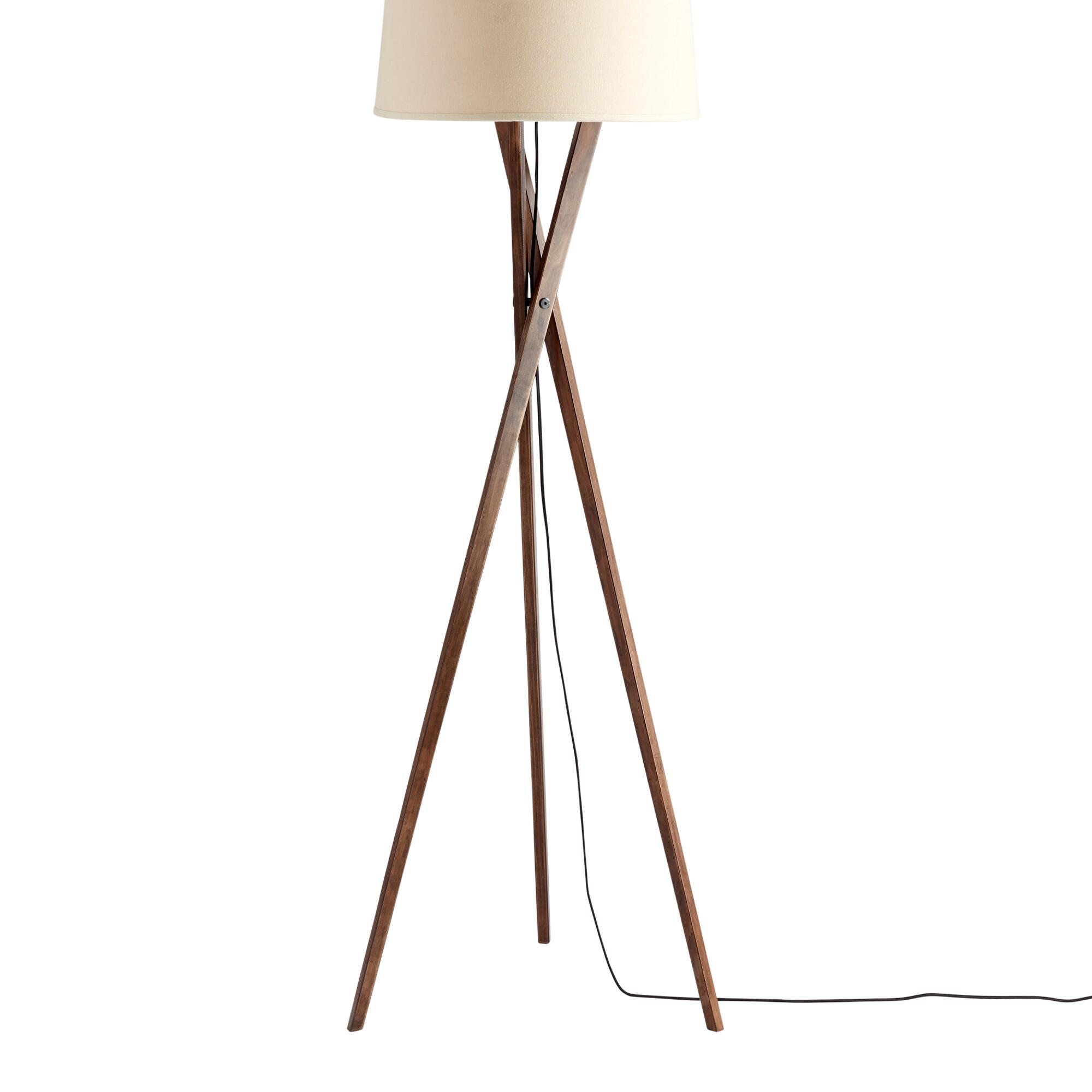 Walnut wood tripod austin floor lamp base world market aloadofball Choice Image