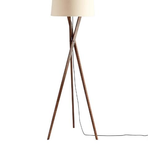 Walnut Wood Tripod Austin Floor Lamp Base