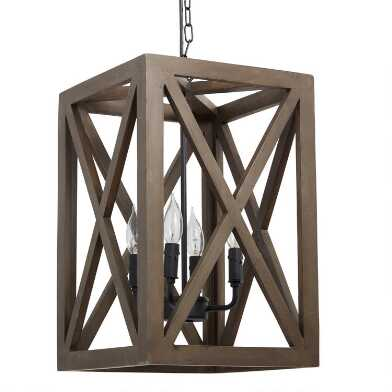 Brown Wood and Iron 4 Light Valencia Chandelier