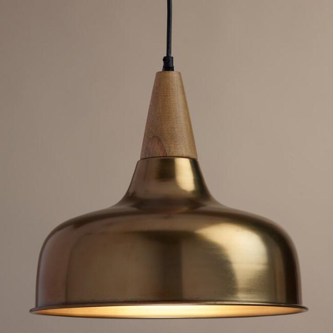 Brass and Wood Glenn Pendant Lamp