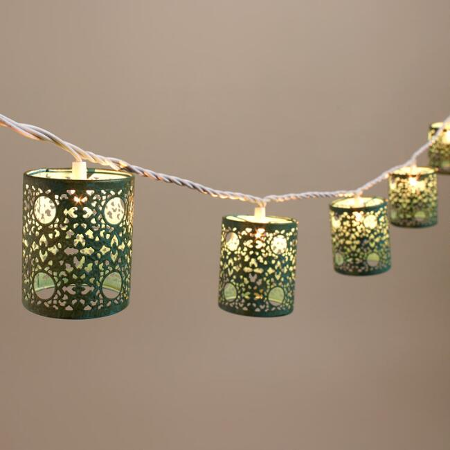 Turquoise Filigree Cylinder 10 Bulb String Lights