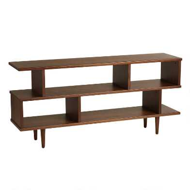 Walnut Brown Wood Ashlyn Bookshelf