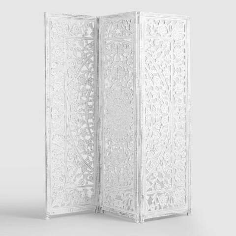 huge discount 4e5a8 d19d5 White Wash Carved Zaria Wood Screen   World Market