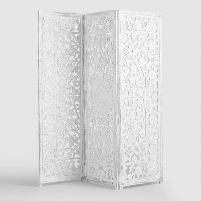White Wash Carved Zaria Wood Screen