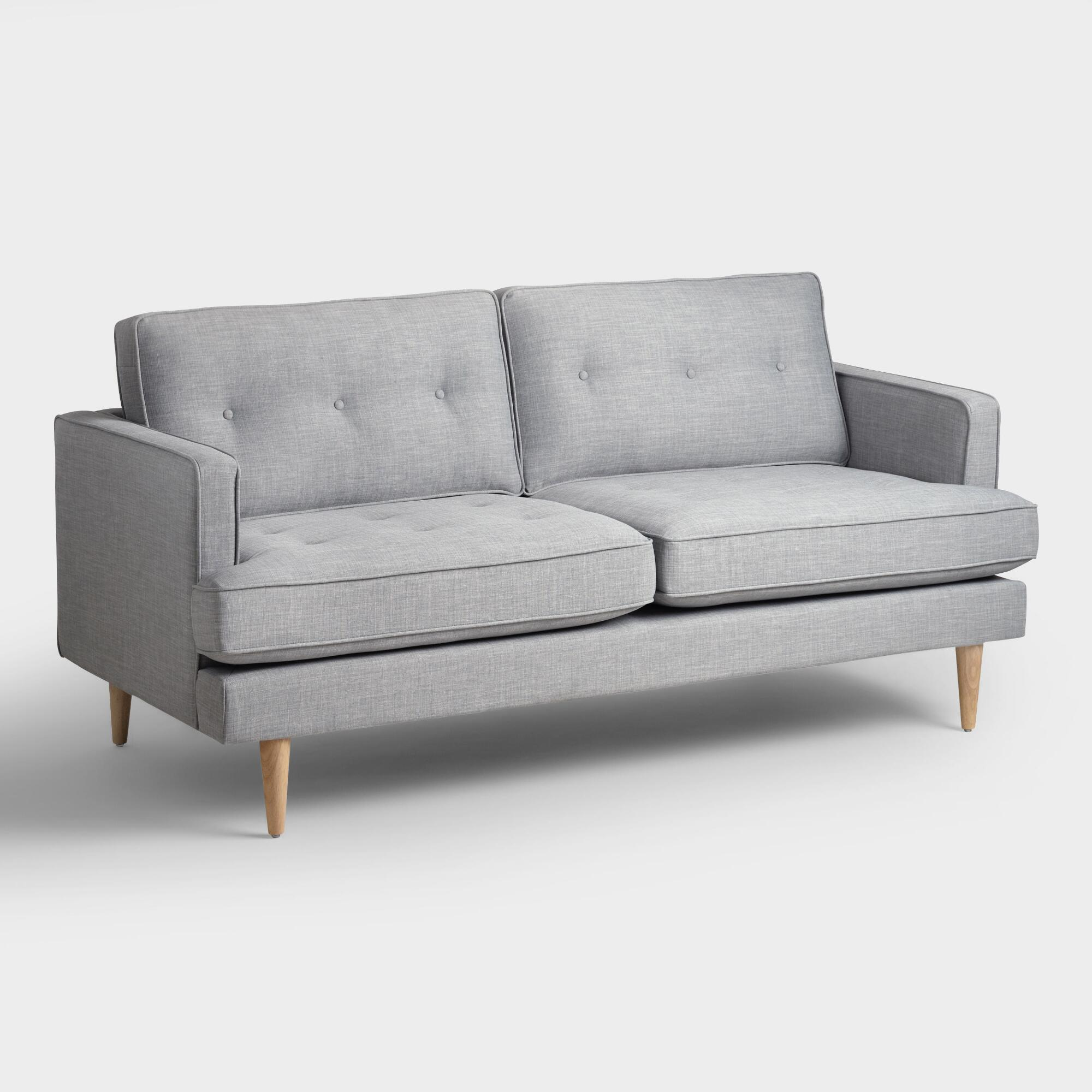 Cost Plus World Market Dove Gray Woven Apel Sofa