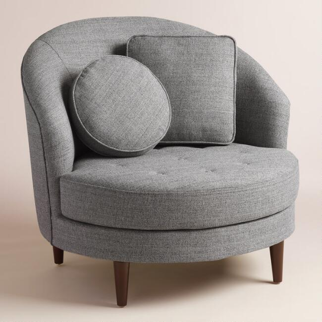 Gray Round Seren Chair and a Half