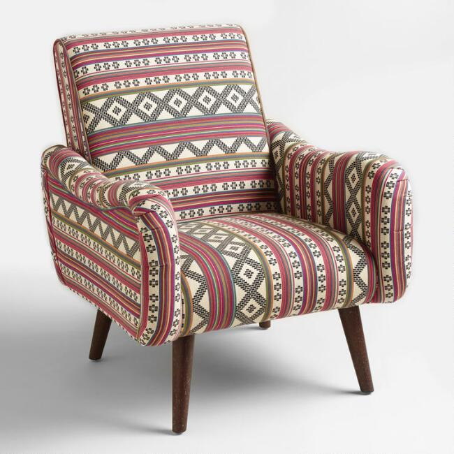 Jacquard print upholstered neyla armchair world market for Upholstered living room chairs sale