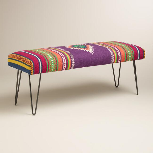 Calypsa Upholstered Hairpin Bench