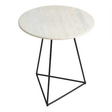 Round White Marble And Metal Accent Table