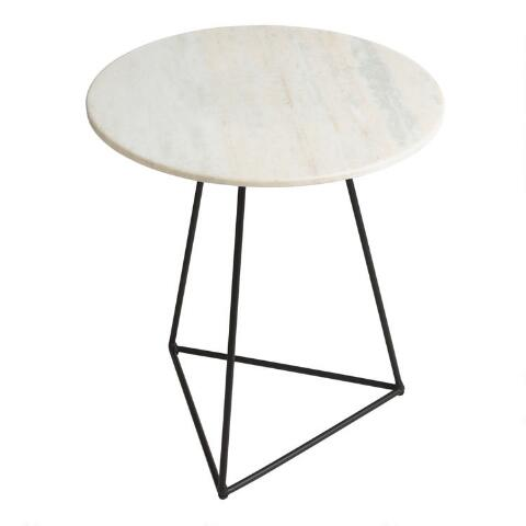 purchase cheap 66343 bfabd Round White Marble And Metal Accent Table