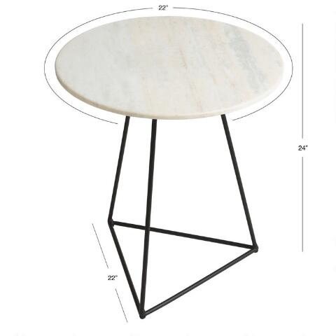 Round White Marble And Metal Accent Table World Market - Black triangle end table