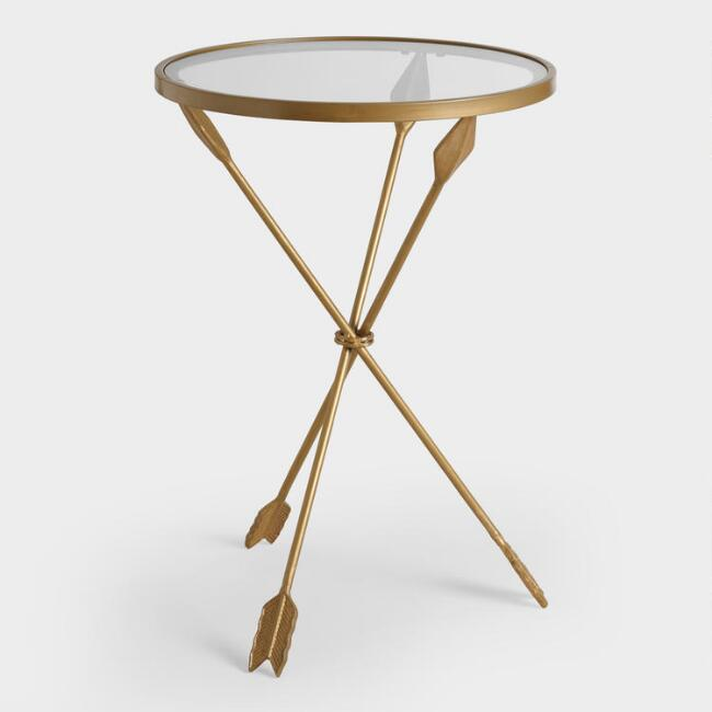 Gold Metal And Gl Arley Accent Table
