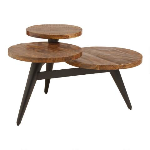 Three Legged Coffee Table.Wood And Metal Multi Level Coffee Table