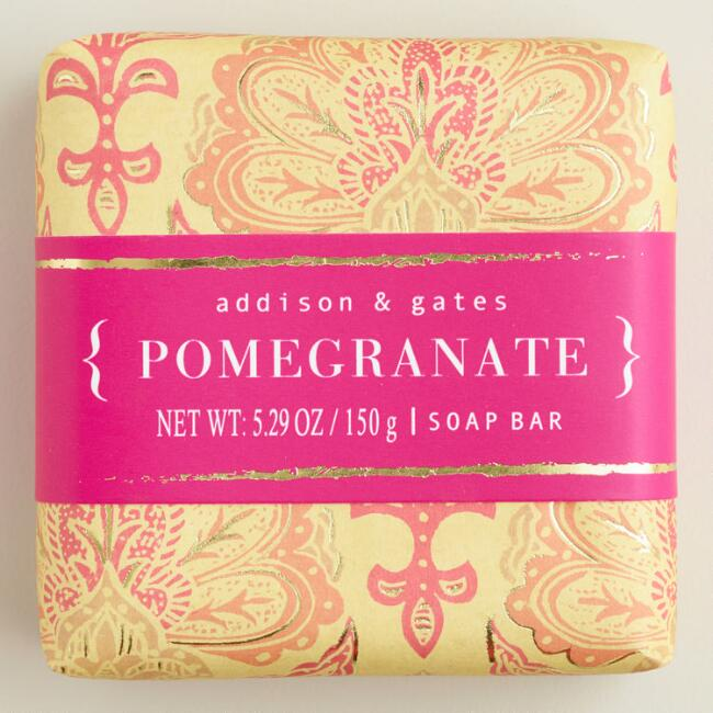 A&G Block Print Pomegranate Bar Soaps Set of 2