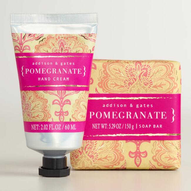A&G Block Print Pomegranate Bar Soap and Hand Cream Collection