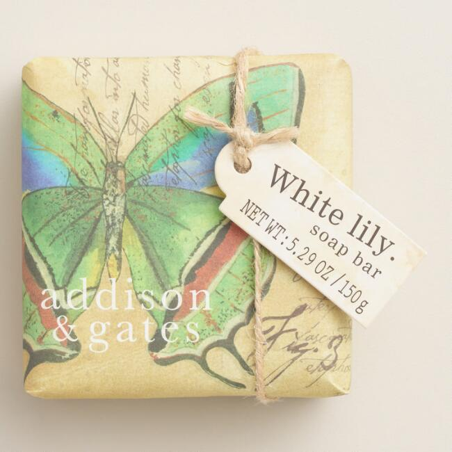 A&G Butterfly White Lily Bar Soaps Set of 2