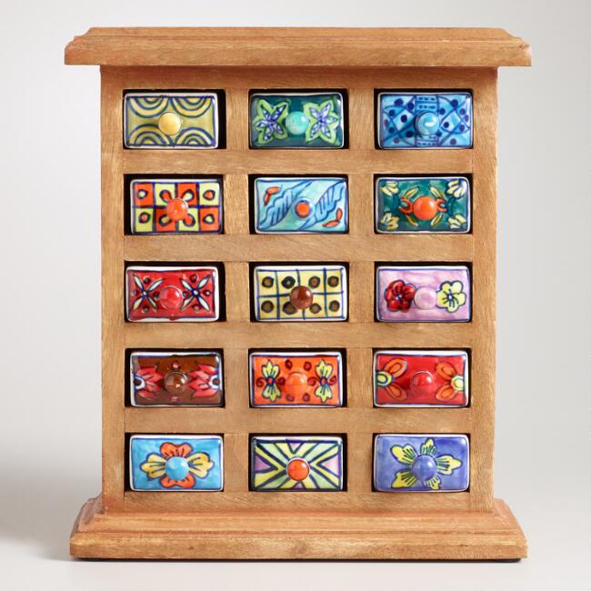 Hand Painted Ceramic and Wood Storage Chest