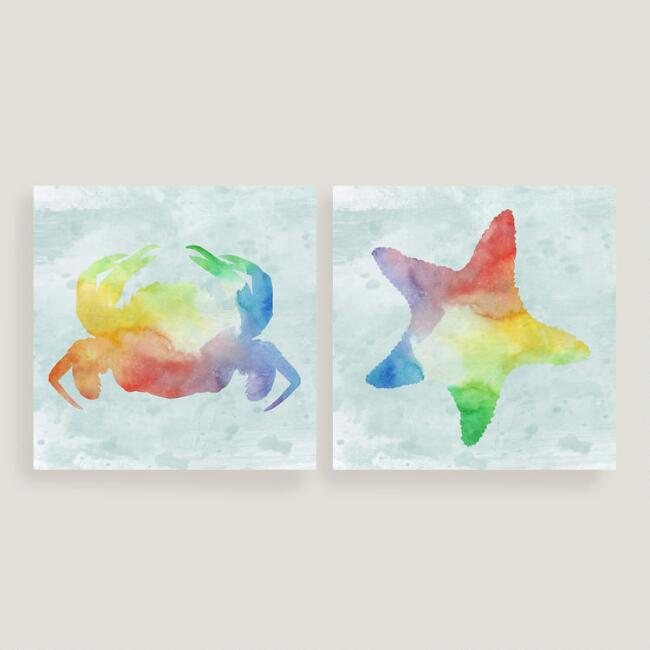 Nautical Starfish and Crab Canvas Set of Two