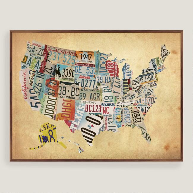 Rustic Wood USA Map Wall Art | World Market