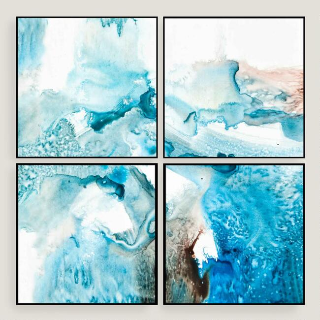 Abstract Blues Wall Art 4 Piece