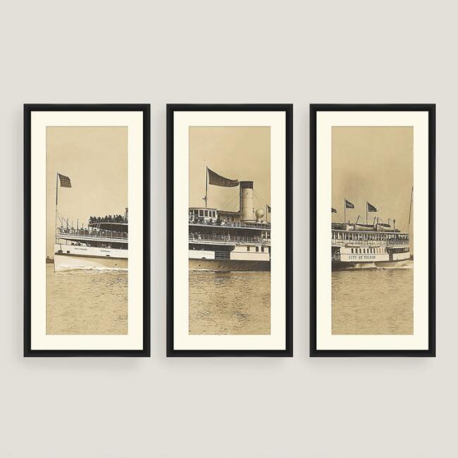 Framed Vintage Steamboat Sketch Wall Art Set of Three