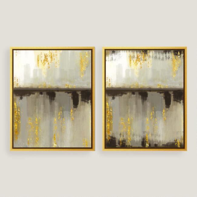 Neutral Horizon Canvas Wall Art with Gold Leaf Set of 2