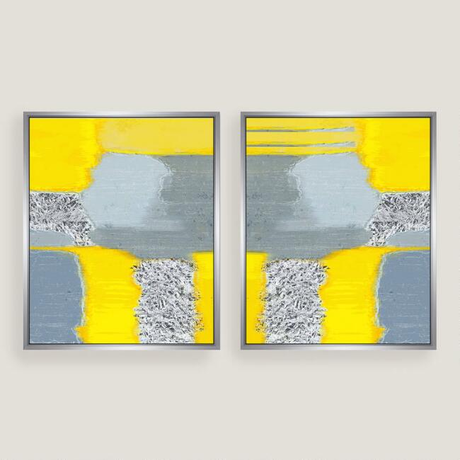 Yellow Grey Abstract Canvas Wall Art Silver Leaf Set of 2 | World Market