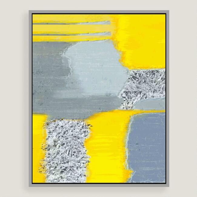 Gray and Yellow Abstract Canvas Wall Art with Silver Leaf | World Market