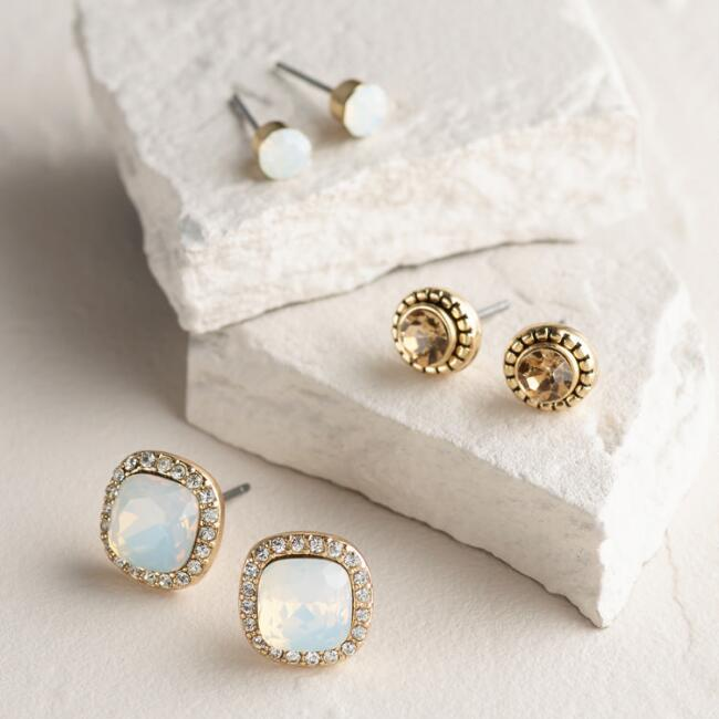 Square and White Opal Boxed Stud Earrings, 3 Piece