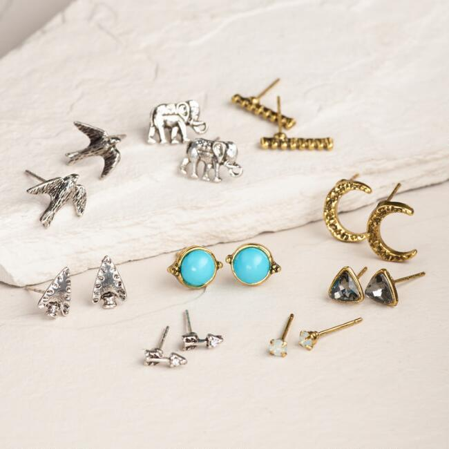 Gold Bird and Moon Earrings, 9 Piece
