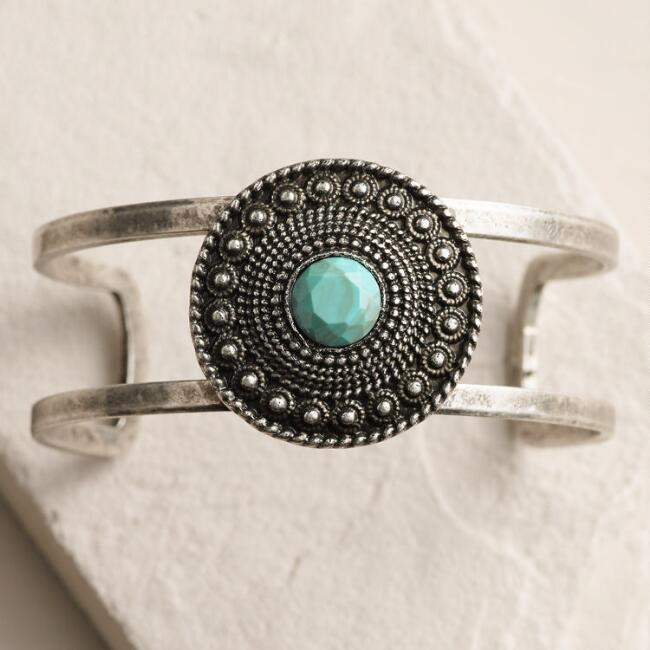 Silver Turquoise Disc Cuff Bracelet