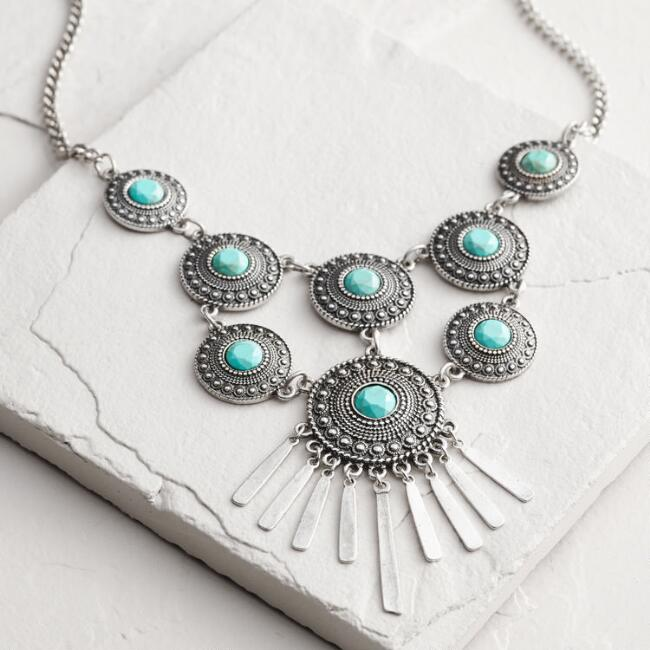 Silver Turquoise Disc Statement Necklace