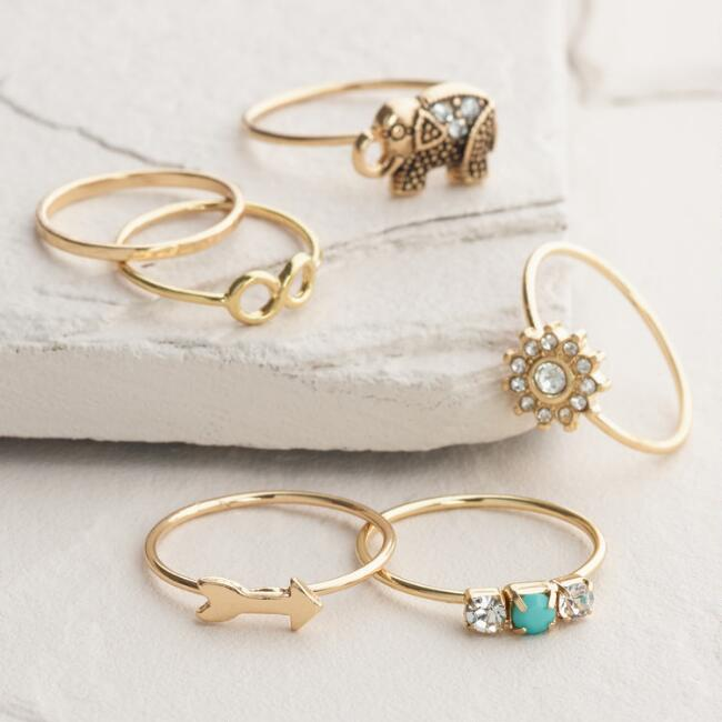 Gold Elephant Boxed Midi Rings, Set of 6