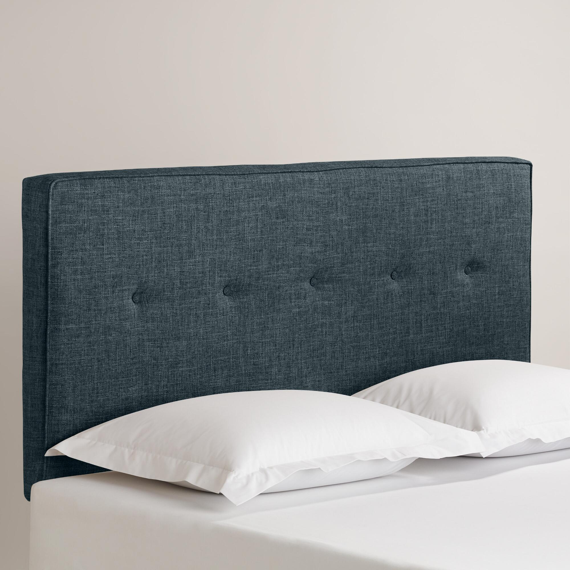 Linen Donnon Upholstered Headboard: Gray - Fabric - King Headboard by World Market Charcoal/King
