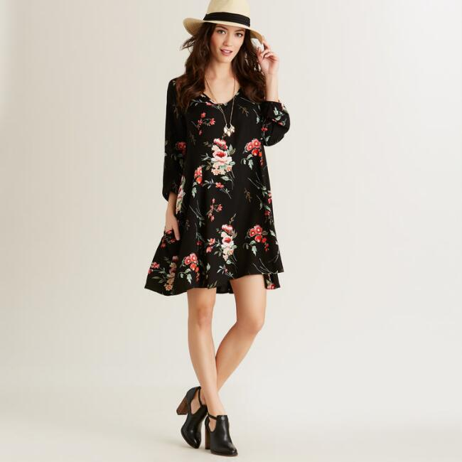 Black Floral Luna Dress