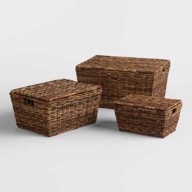 Madras Rectangular Tapered Lidded Basket
