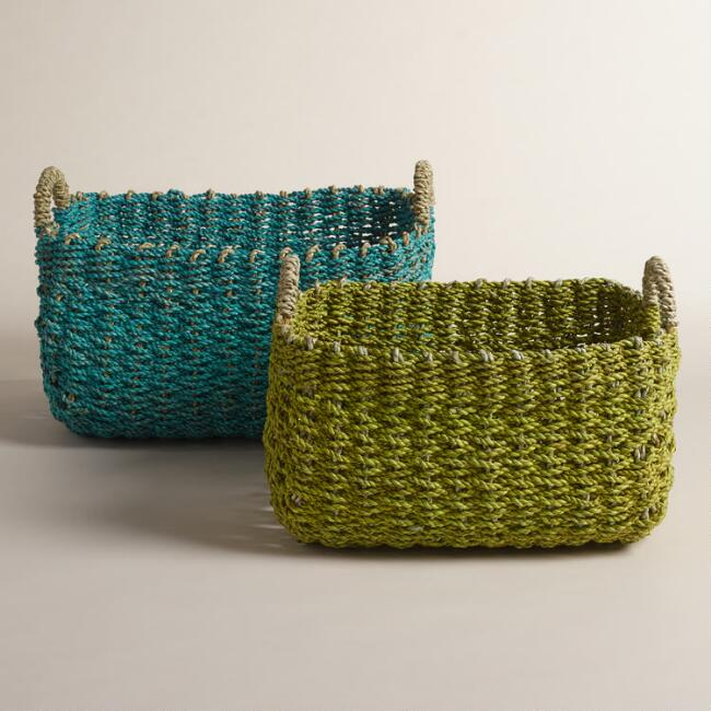 Green and Blue Seagrass Eve Baskets