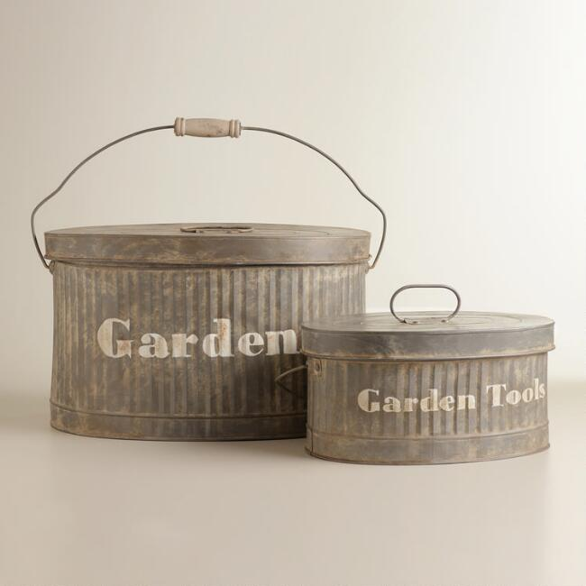 Metal Clementine Garden Bucket with Lid