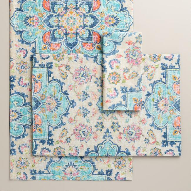 Blue Turkish Tile Table Linen Collection