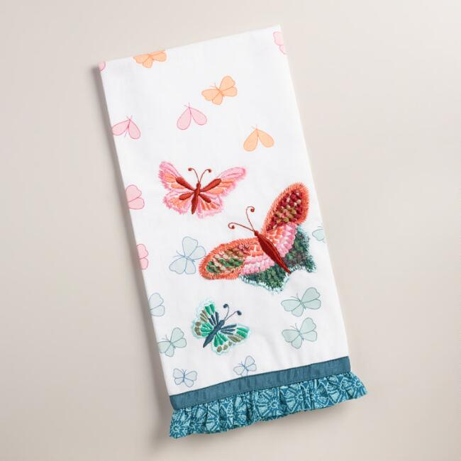 Embroidered Butterflies Kitchen Towel