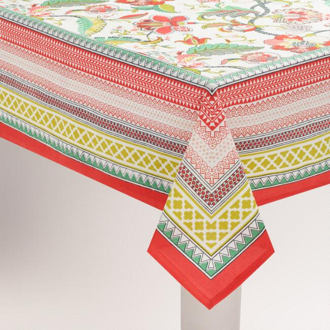 Red Floral Somrasa Tablecloth