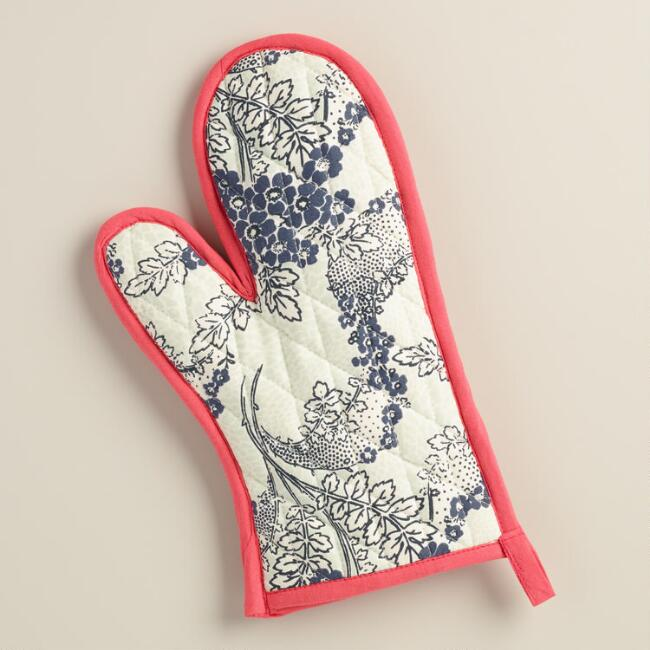 Mint and Coral Floral Mathilda Oven Mitt