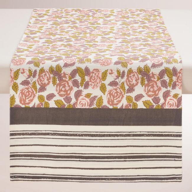 Rose Floral Striped Table Runner