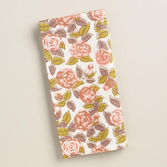 Rose Floral Napkins Set of 4