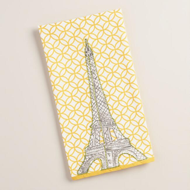 Embroidered Eiffel Tower Kitchen Towel