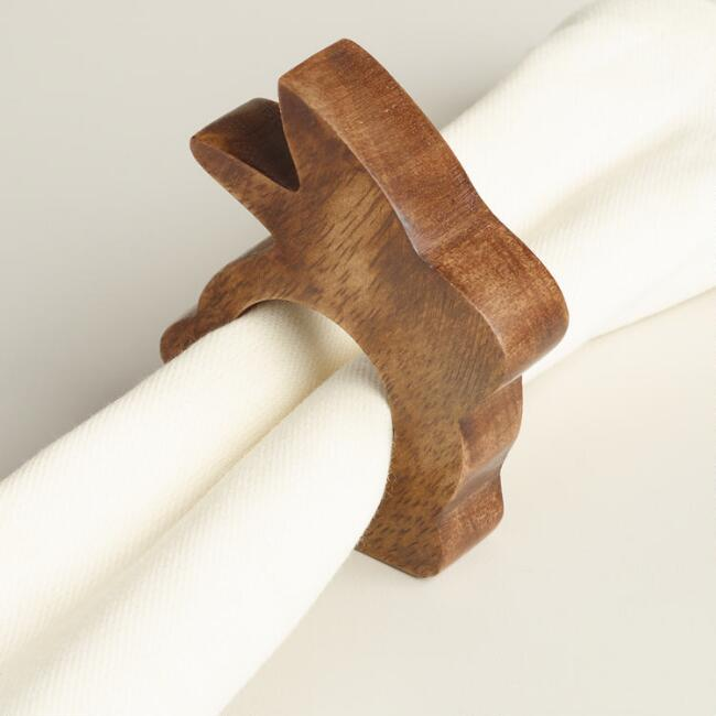 Wood Bunny Napkin Ring Set of 4